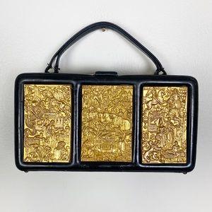 Nettie Rosenstein Bag Black Pill Box Brass Plated